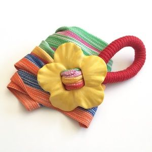 Vintage Womens Ceramic Flower Striped Belt Buckle